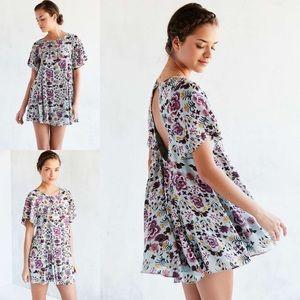 UO Kimchi Blue Floral Fields Babydoll Smock Dress